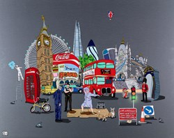 London's Finest by Dylan Izaak - Original Painting on Aluminium sized 40x32 inches. Available from Whitewall Galleries